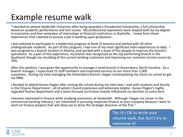 Example Resume Walk