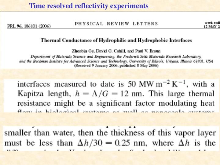 Time resolved reflectivity experiments