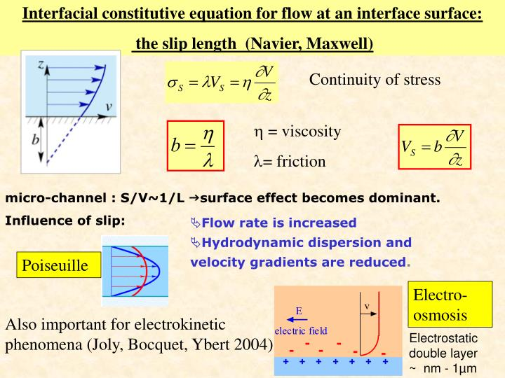 Interfacial constitutive equation for flow at an interface surface: