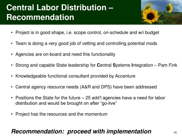 Central Labor Distribution – Recommendation