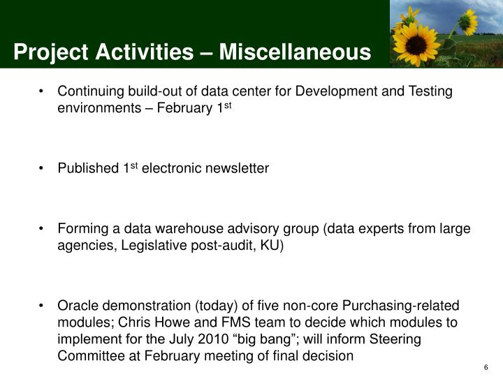 Project Activities – Miscellaneous