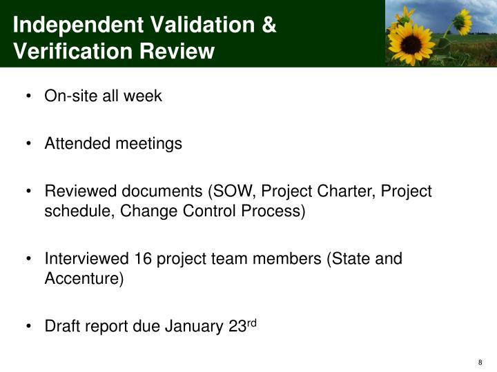 Independent Validation & Verification Review