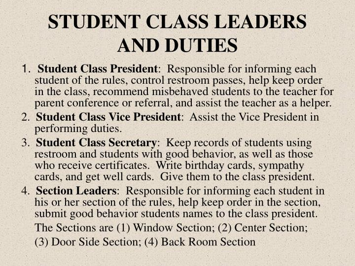 STUDENT CLASS LEADERS