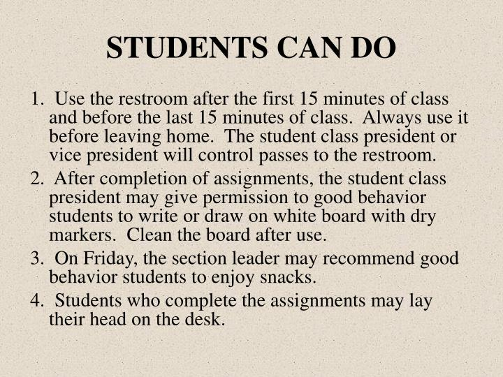 STUDENTS CAN DO