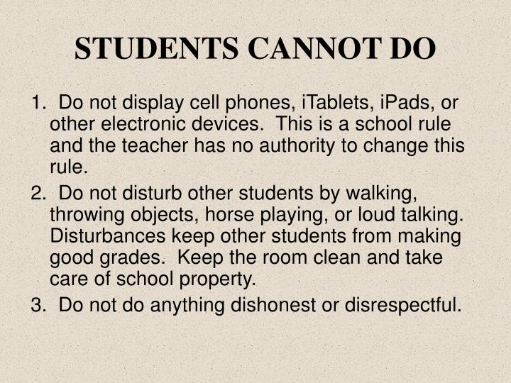 STUDENTS CANNOT DO