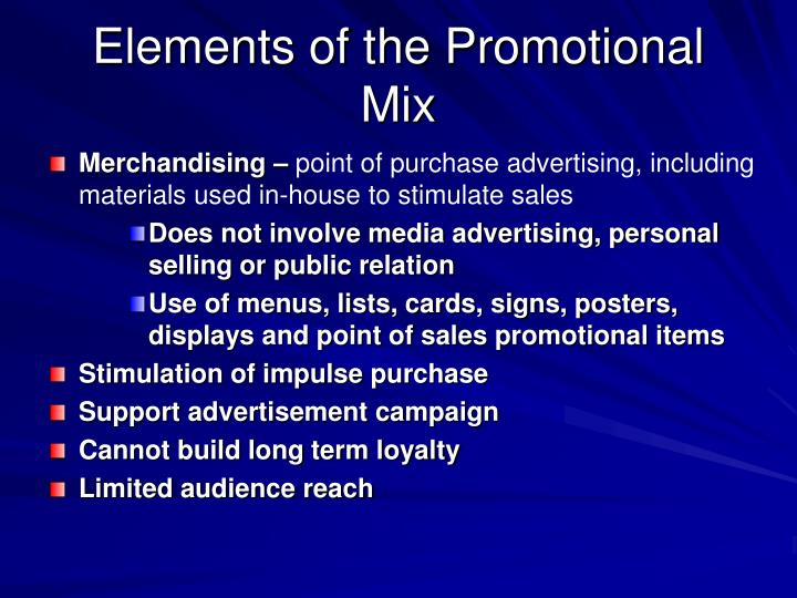Elements of the Promotional Mix