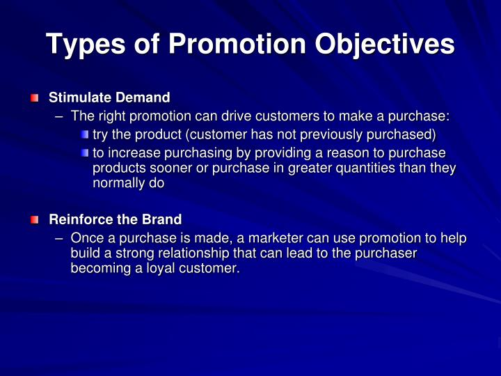 Types of Promotion Objectives