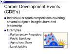 career development events cde s