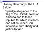 closing ceremony the ffa salute