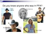 do you know anyone who was in ffa