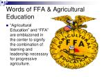 words of ffa agricultural education