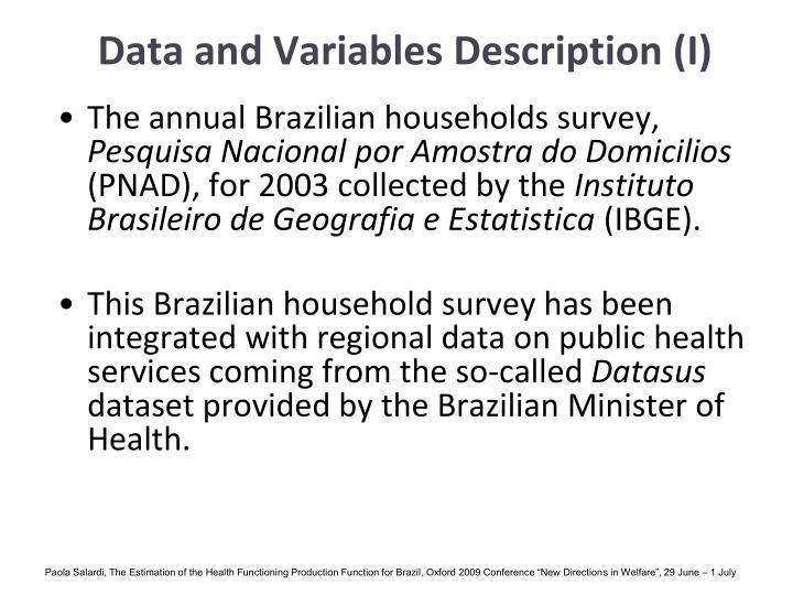 Data and Variables Description (I)