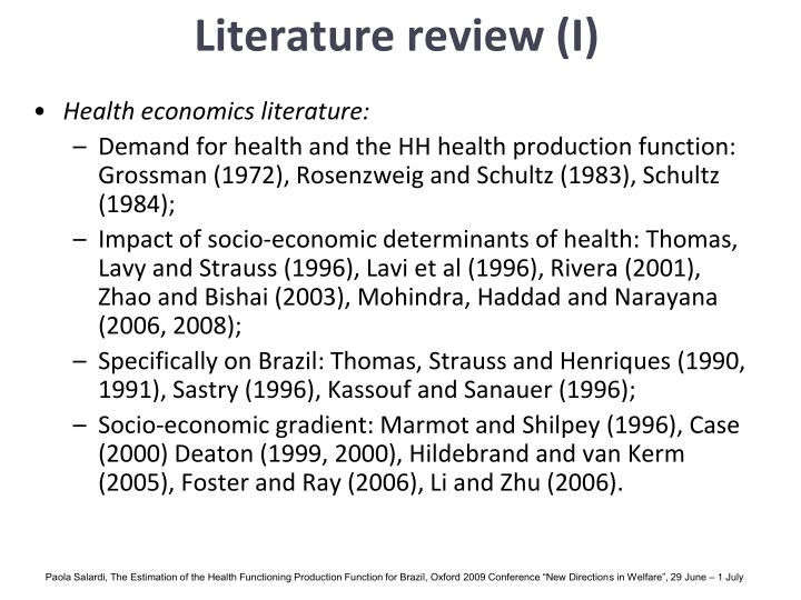 Literature review (I)