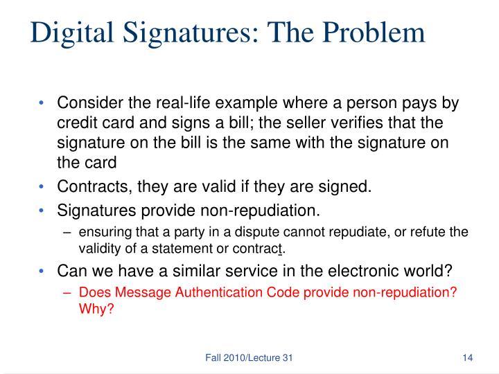 Digital Signatures: The Problem