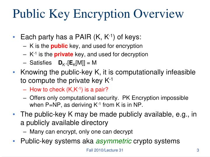 Public key encryption overview