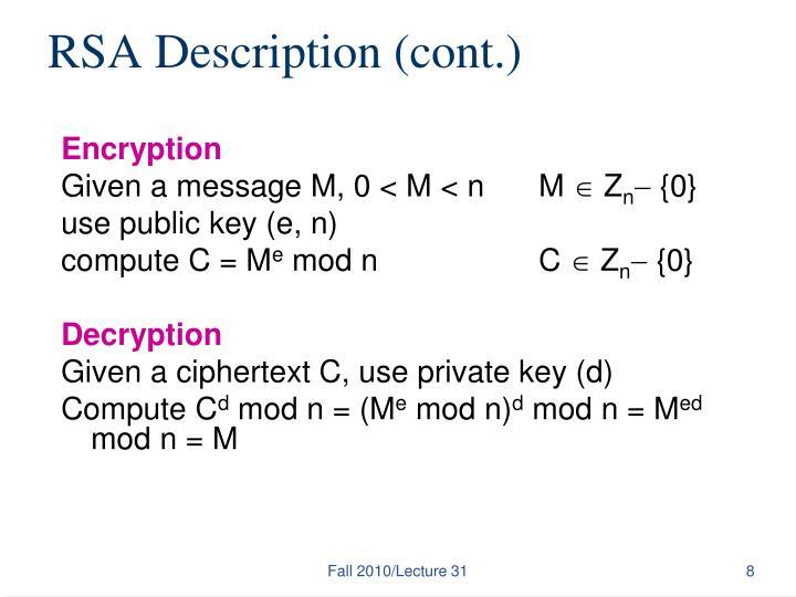 RSA Description (cont.)