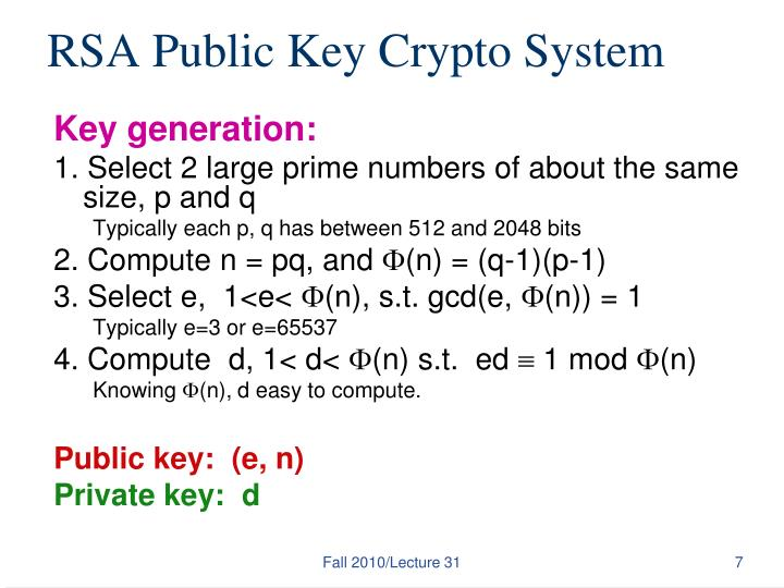 RSA Public Key Crypto System