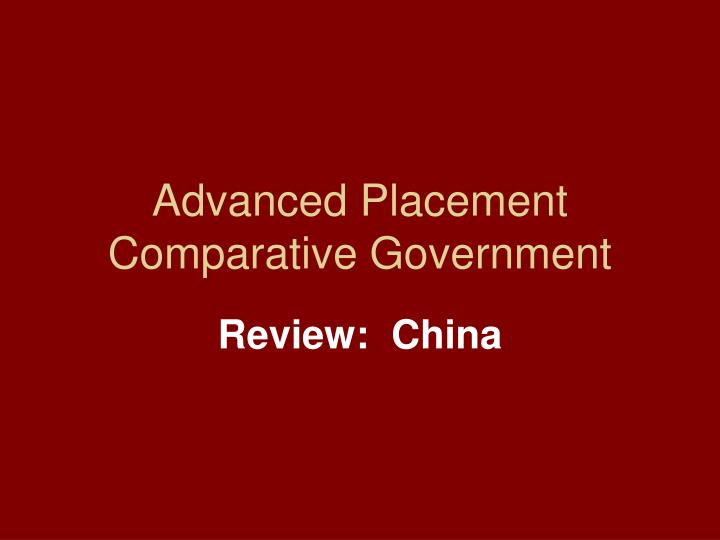 Advanced placement comparative government