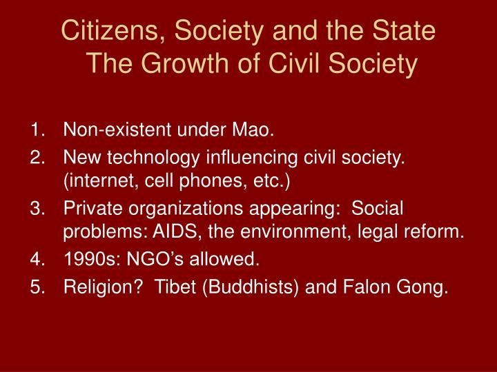 Citizens, Society and the State
