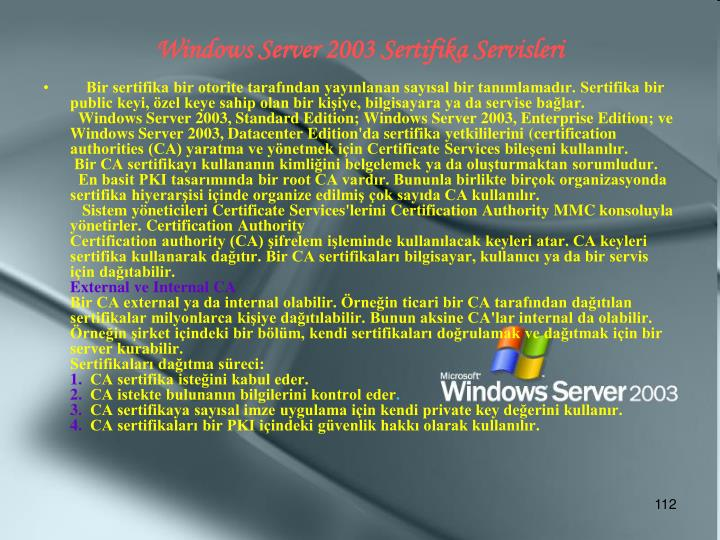 Windows Server 2003 Sertifika Servisleri