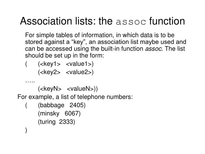 Association lists the assoc function