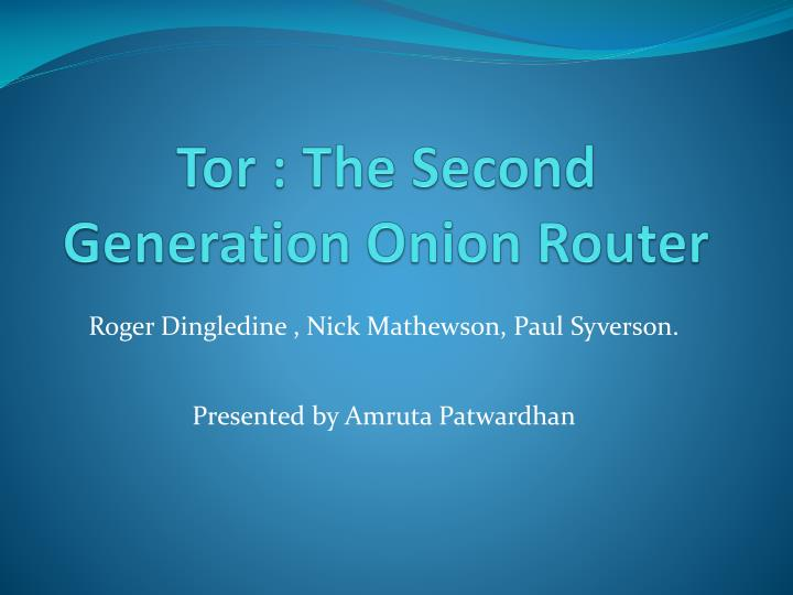 tor the second generation onion router n.