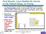 first results linux redhat 9a kernel 2 4 20 default setup no tuning