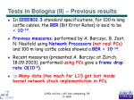 tests in bologna ii previous results