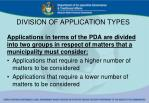 division of application types