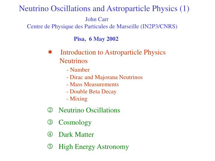 Neutrino Oscillations and Astroparticle Physics (1)