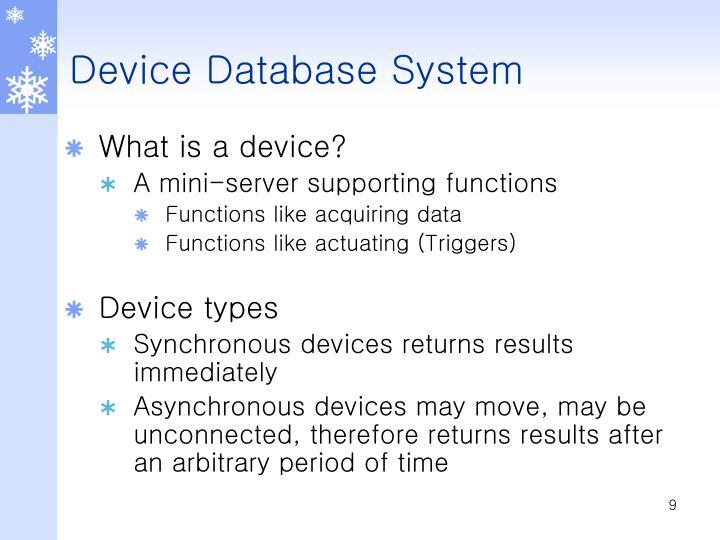 Device Database System