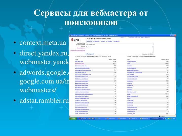 Сервисы для вебмастера от поисковиков