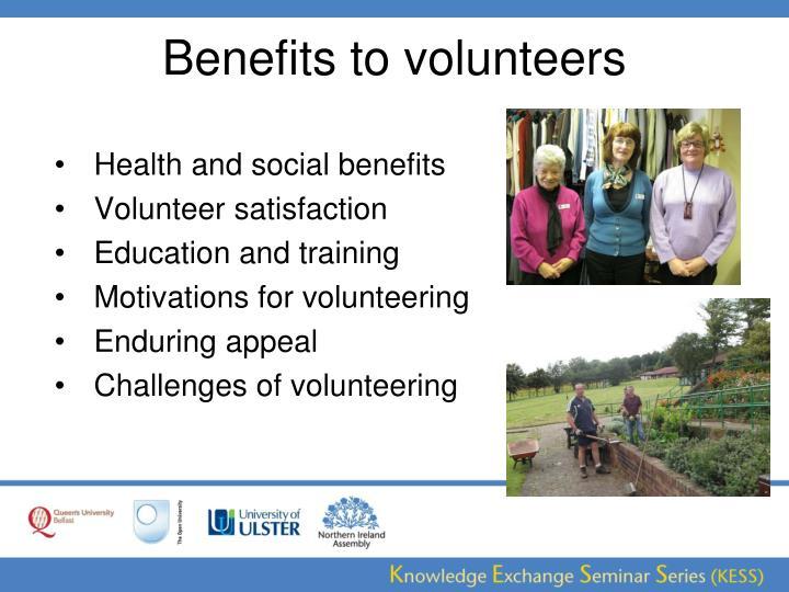 Benefits to volunteers