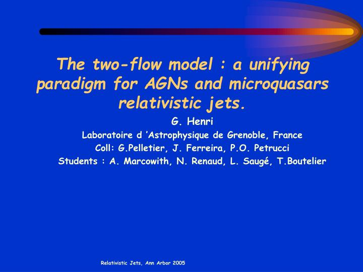 the two flow model a unifying paradigm for agns and microquasars relativistic jets n.