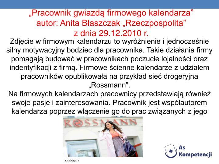 """""""Pracownik gwiazdą firmowego kalendarza"""""""