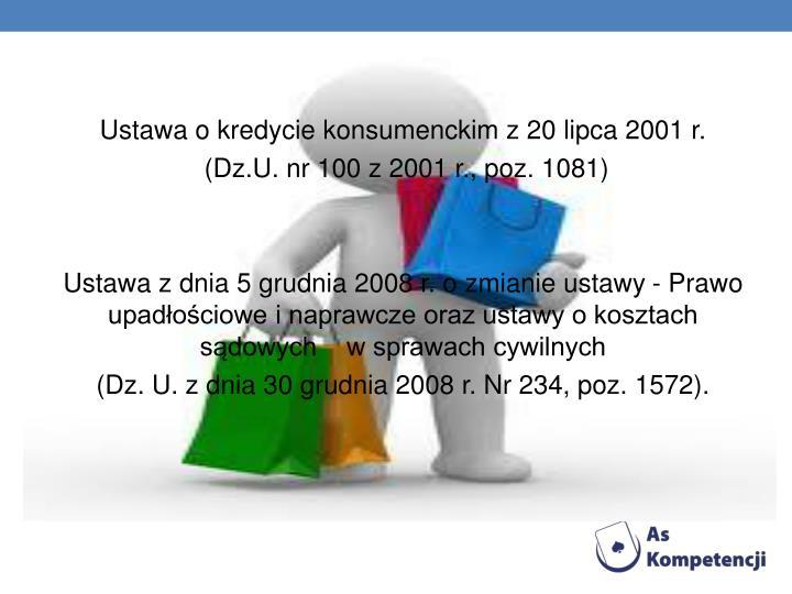Ustawa o kredycie konsumenckim z 20 lipca 2001 r.