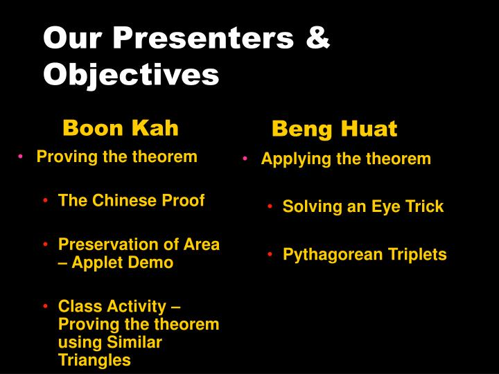 Our presenters objectives