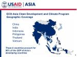 eco asia clean development and climate program geographic coverage