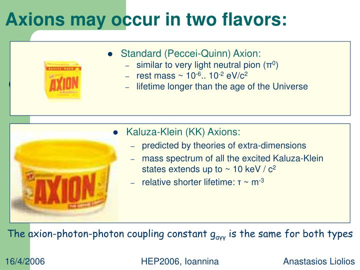 Axions may occur in two flavors: