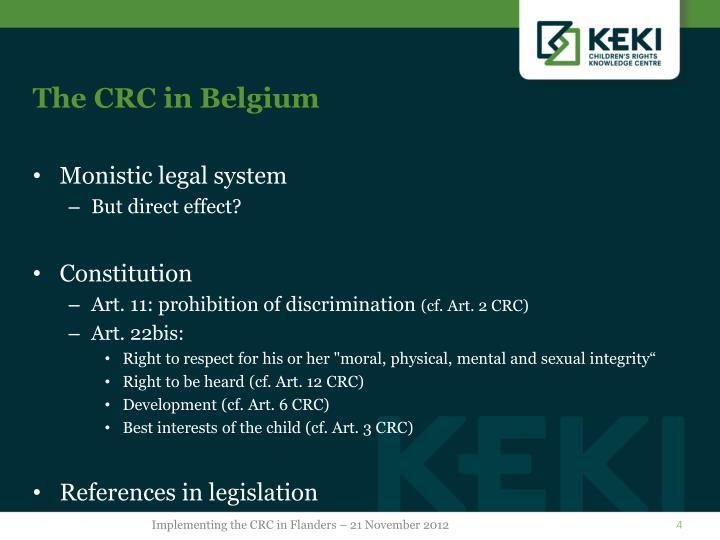 The CRC in Belgium