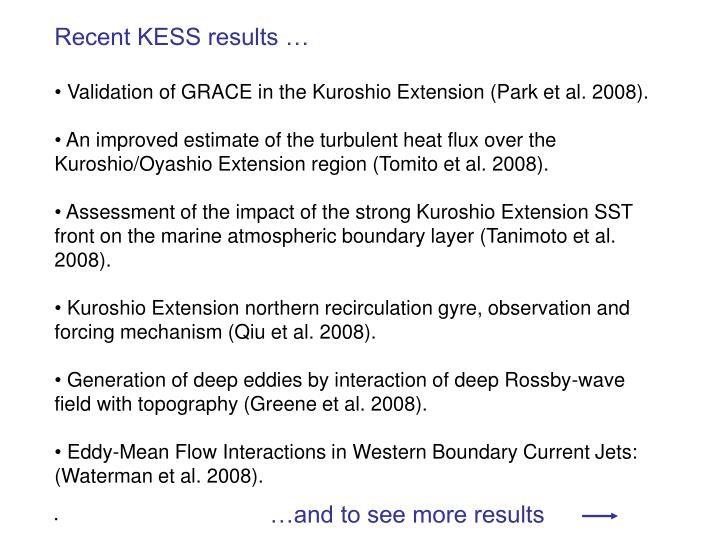 Recent KESS results …