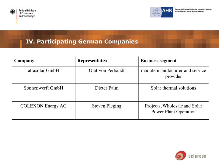 IV. Participating German Companies