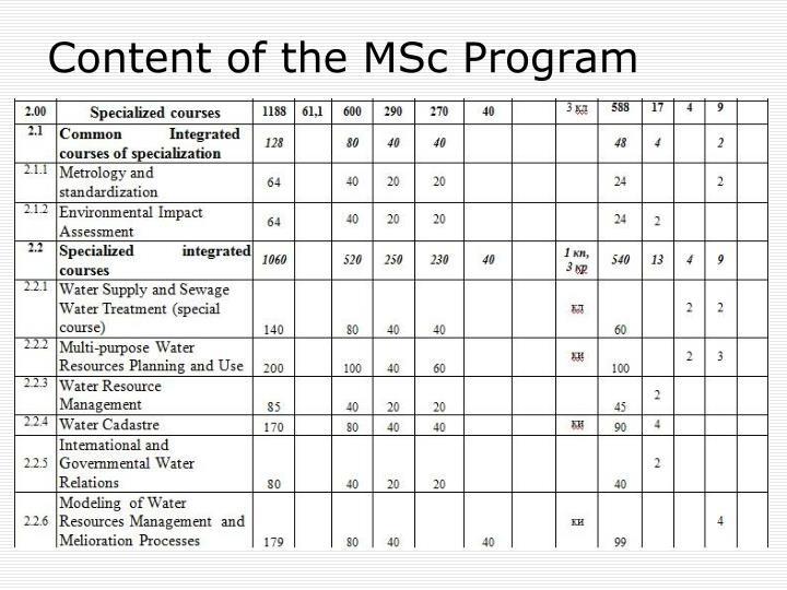 Content of the MSc Program