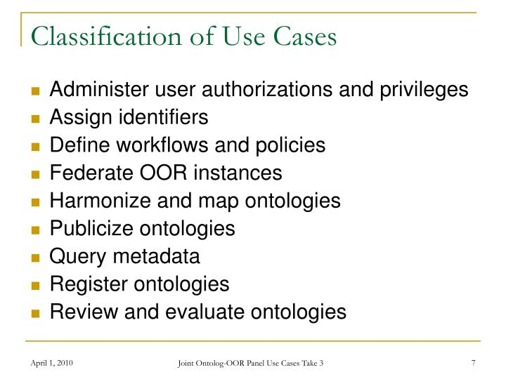 Classification of Use Cases