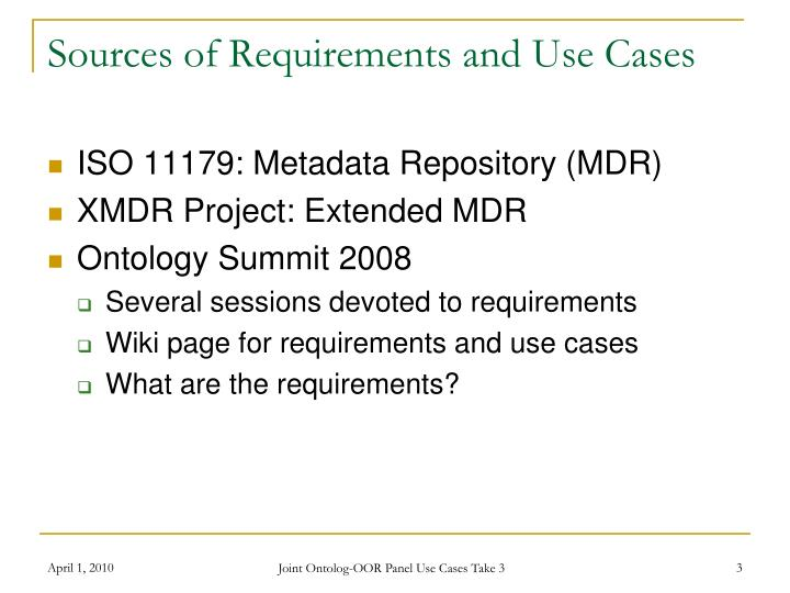 Sources of requirements and use cases