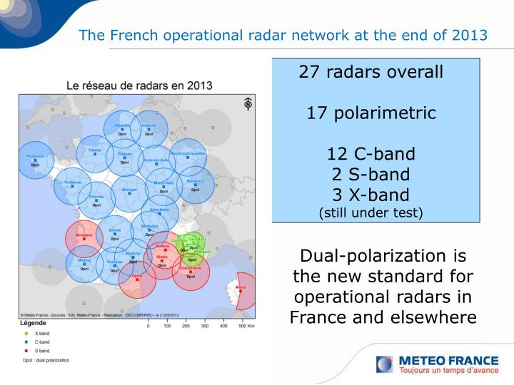 The French operational radar network at the end of 2013