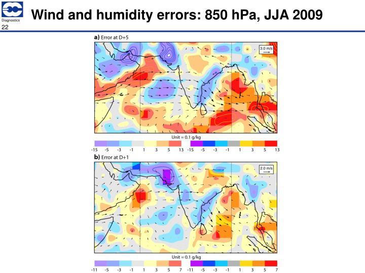 Wind and humidity errors: 850 hPa, JJA 2009