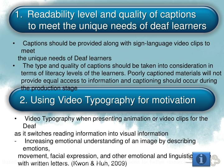 Readability level and quality of captions