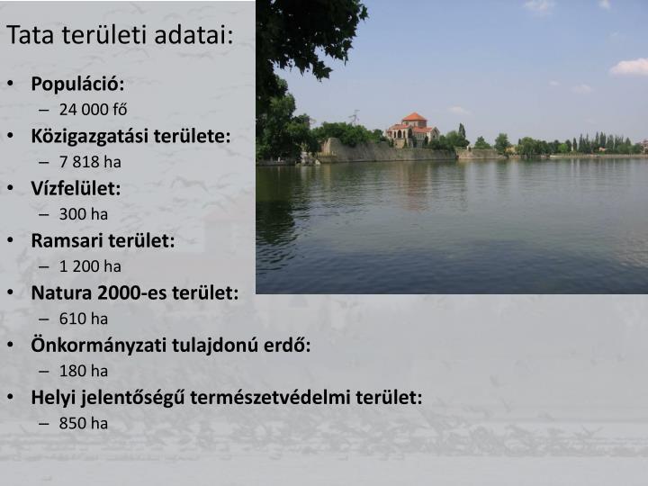 Tata területi adatai: