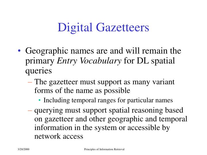 Digital Gazetteers
